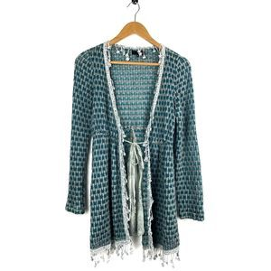 Anthropologie Ryu Teal Knit Fringe Cardigan Small